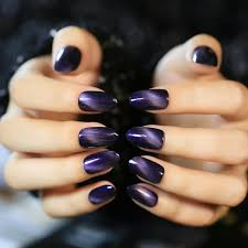 fashion oval top acrylic nails black gradient purple cat eye