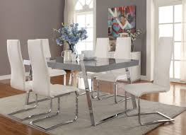 giovanni high gloss grey dining room set from coaster coleman