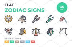 flat zodiac signs icons icons creative market