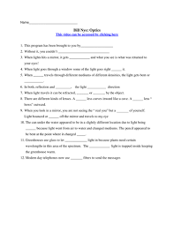 bill nye video worksheets four electricity and optics