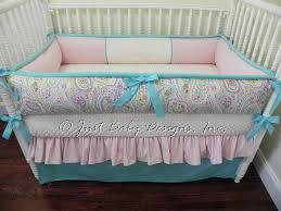 Pink And Aqua Crib Bedding Custom Crib Bedding Set Paisley Babybedding