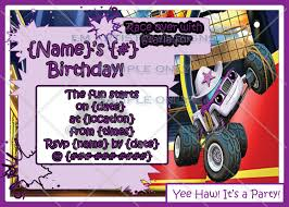 monster truck invitation individual starla from blaze and the monster machines custom