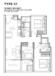 3 bedroom type c1 850 sqft floor plan sophia hill all property