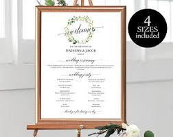 wedding program sign wedding program sign etsy