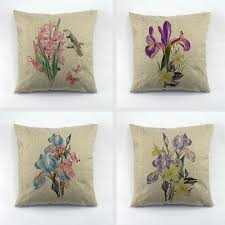 Decorative Throw Pillow Cover Orchid Linen Cushion Cover Oli