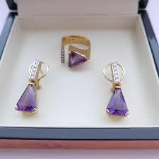 70 s earrings stunning vintage modernist 70 s 18ct gold diamond amethyst
