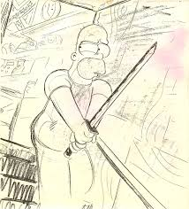 simpsons pulp fiction drawing homer sword
