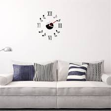 aliexpress com buy 3d musical notes clock wall stickers roman aliexpress com buy 3d musical notes clock wall stickers roman numerals wallpaper home room decoration diy art wall decals acrylic modern stickers from