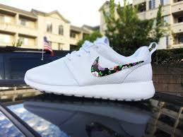 nike roshe design custom womens nike roshe run sneakers floral design lilac