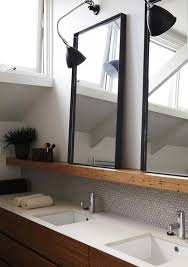 image result for thin wood shelf above sink holding mirror in