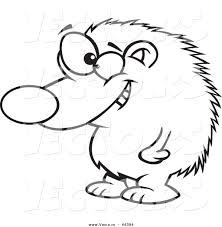 vector grinning cartoon hedgehog standing coloring