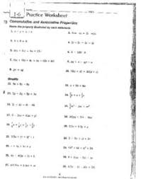 1 6 practice worksheet commutative and associative properties 9th