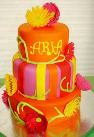 bright orange and pink babyshower cake cake by jewell coleman