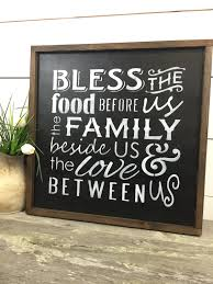bless the food before us wood sign rustic wood sign
