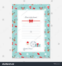 christmas letter santa claus template layout stock vector