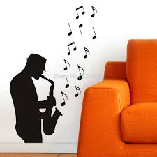 online get cheap plastic wall art music notes aliexpress com hot music notes saxaphone silhouette wall art sticker decal home diy decoration wall mural removable bedroom