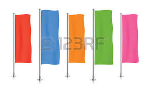 five white vertical banner flags standing in a row banner flag