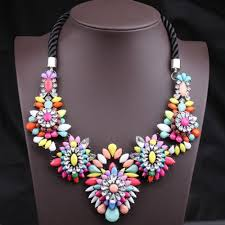colored rope necklace images Unique colorful gemstone flower pendants women s fashion rope jpg