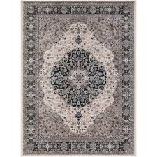 Concord Global Area Rugs Concord Global Trading Kashan Medallion Ivory 7 Ft 10 In X 9 Ft