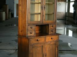Old Pine Furniture Hand Made European Open Top Hutch With Glass Doors And Shelf