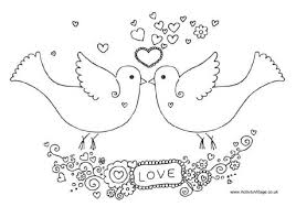 valentine doves colouring