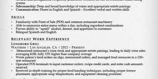 Server Resumes Samples by Bartending Description For Resume Bartender Resume Description Job