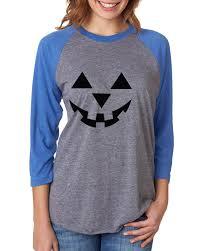 Tee Shirt Halloween Costumes Jack O U0027 Lantern Pumpkin Halloween Costume Womens 3 4 Raglan Sleeve