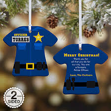 personalized christmas ornaments police uniform 2 sided