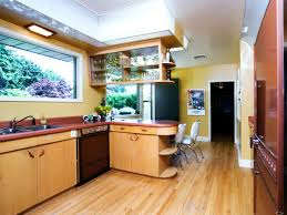 spacious area for fancy kitchen with long teak retro cabinets and