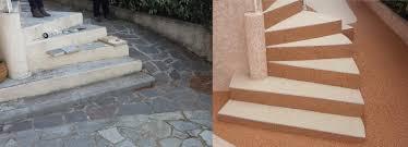 revetement pour escalier exterieur granulat de marbre et moquette en pierres à rocbaron rer azur