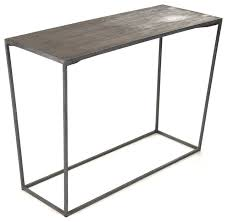 oak sofa tables bleecker modern rustic industrial gray steel reclaimed oak console