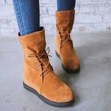 womens boots mid calf brown best quality brown s boots suede mid calf trendy with lace