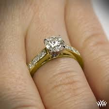 yellow gold engagement ring channel set diamond engagement ring 1082