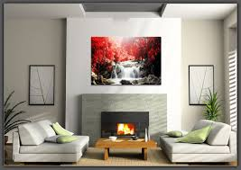 canvas prints red waterfall wall art oil paintings print picture