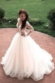 white dresses for wedding boho princess a line v neck tulle white sleeves wedding gowns