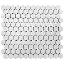 Black And White Border Tiles Merola Tile Metro Hex Matte White 10 1 4 In X 11 3 4 In X 6 Mm