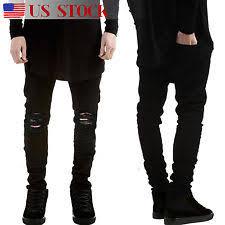 Ripped Denim Jeans For Men Unbranded Denim Slim Skinny Jeans For Men Ebay