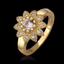sunflower engagement ring luxury 18k gold simulated jewelry sunflower