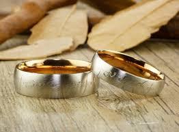elvish wedding rings gold dome custom your words in elvish tengwar lord of the