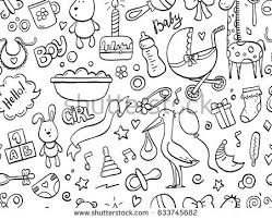 doodle with set baby newborn doodle stock vector 631770785