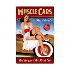 pin up girl home decor muscle cars fast girls pin up girl art on metal sign vintage