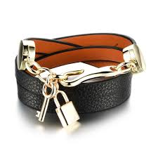 buckle leather wrap bracelet images Key lock leather wrap bracelet with gold hook clasp gold key lock jpg