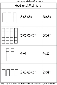 add and multiply repeated addition 2 worksheets printable