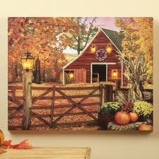 autumn barn lighted canvas from collections etc