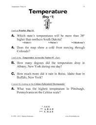 Worksheets For Math Temperature Worksheets 3rd 4th 5th Grade Math Just Turn And