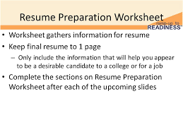 resume preparation building a resume resume sections 10th grade advisory activity