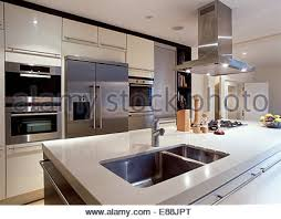 kitchen island extractor fans large extractor fan above sink in island unit in modern white
