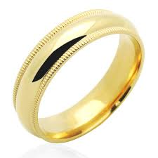 mens yellow gold wedding bands accent 14k yellow gold 5mm comfort fit milgrain plain
