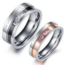 steel promise rings images Designer stainless steel couple ring crystal rose gold black jpg