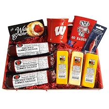 summer sausage gift basket wisconsin s best wisconsin cheese co badger fan deluxe fishing